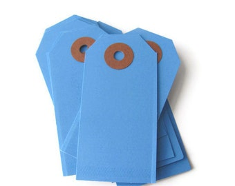 "25 Dark Blue Shipping / Parcel Tags - Small 2 3/4 x 1 3/8"" - Blank - Plain - 2.75"" - DIY Packaging / Crafting - Price / Hang / Favor Tags"