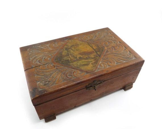 Carved wood jewelry box - windmill inlay cedar trinket box