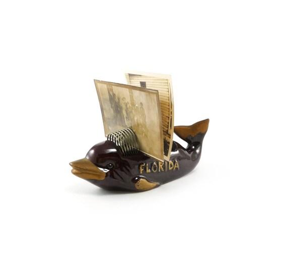 Dolphin letter holder - vintage brown and gold ceramic Florida souvenir