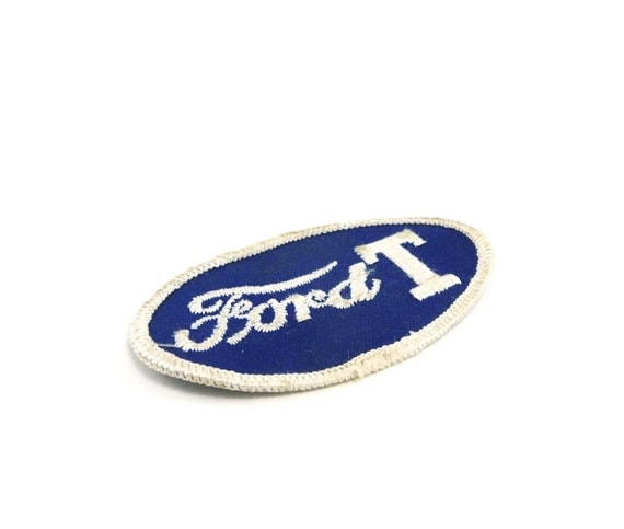 Vintage Ford T patch - navy blue and white FoMoCo Model T patch