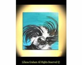 """all wet white pets Ready to hang 30""""X30"""" X1.5"""" Contemporary Abstract Handmade Giclee Print on canvas liliana Graham"""