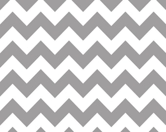 Riley Blake Fabric - 1 Yard of Medium Chevron in Gray
