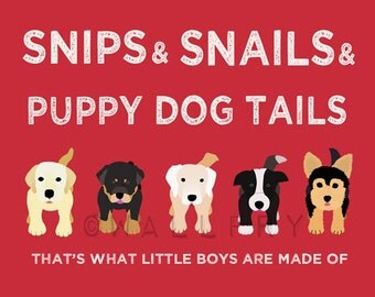 Nursery art print. Boys nursery Puppy dog Thats what little boys are made of wall art baby nursery decor 'PUPPY DOG TAILS' print by WallFry