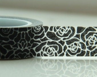 Black White Roses Washi Masking Tape Roll Adhesive Stickers WT48