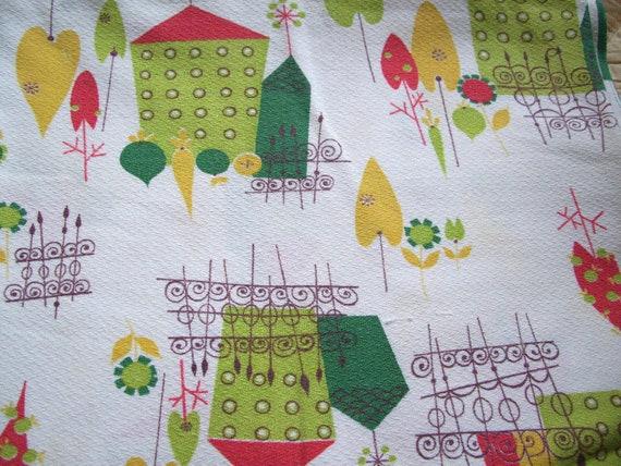 """Vintage """"Happy Neighborhood"""" fabric, over 2 yards"""