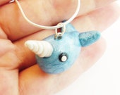 Narwhal Sea Life Polymer Clay Necklace Charm
