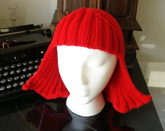 Red Hat Hair Knit Wig yarn wig  Halloween Costume