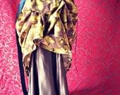 Victorian Steampunk Edwardian Basic Bustle Skirt Brown Yellow Cosmos
