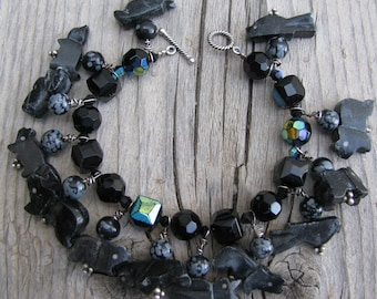 Black Silver,Crystal, Jet Native American Fetish Bracelet Beaded Leopard Jasper