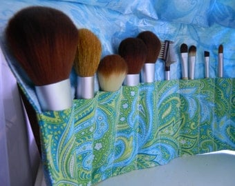 """Deluxe Makeup Brush Roll-Up, Makeup Brush Case, Makeup Brush Holder, Makeup Brush Organizer """"Blue and Green Paisley"""""""