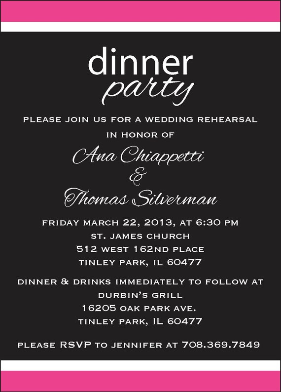 Items similar to Rehearsal Dinner Party Invite Custom Colors on Etsy