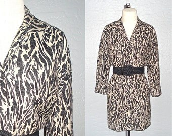 Vintage 90's dress ANIMAL PRINT mini shirtdress - S/M