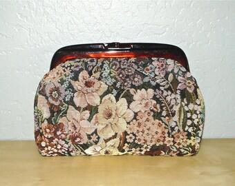 Vintage 80s bag ITALIAN TAPESTRY floral clutch