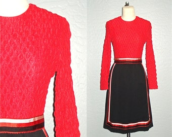 60s mod dress RIBBON TRIM black and red - M