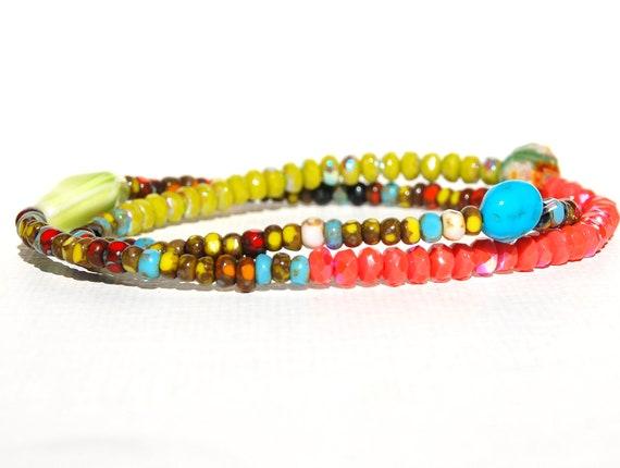 Blazing and Brilliant Modern Beaded Bracelet Bohemian
