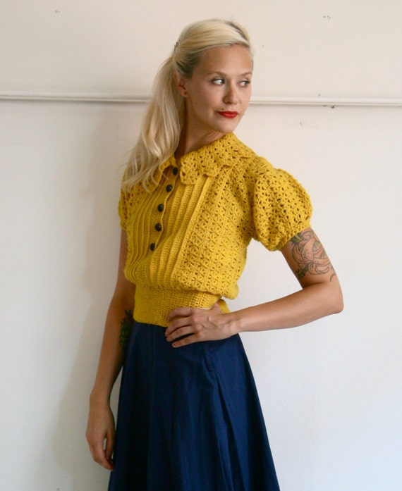 1930s/40s Sweater // Goldie Locks Sweater // Xs-S