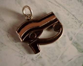 Egyptian Handmade Solid sterling silver oxidized Eye of Horus pendant