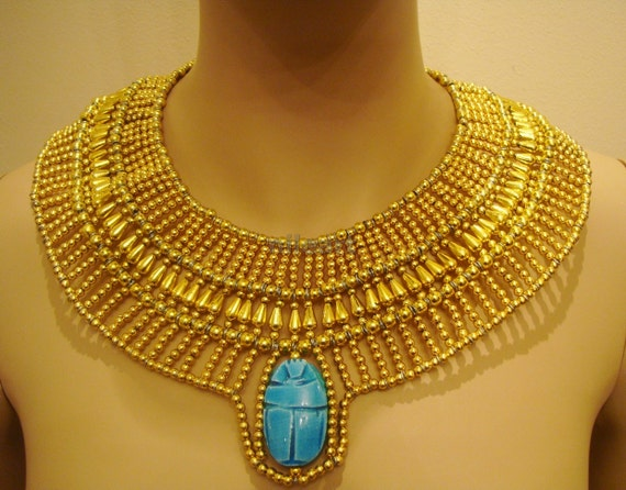 Amazing Egyptian Hand Made Golden Beaded Queen Cleopatra Necklace