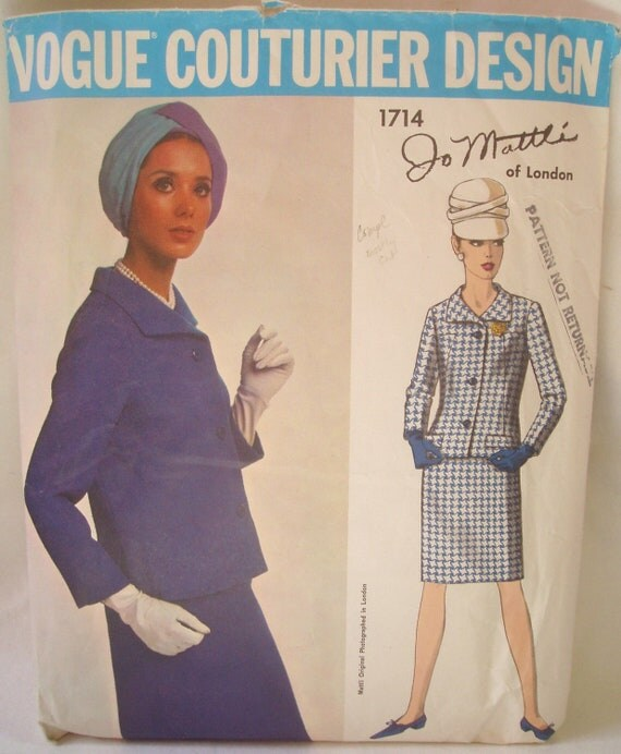 Vintage 70's Vogue Couturier Design JO MATTLI  Pattern 1714 for Jacket Skirt Suit  Size 12