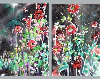 Diptych No.28, mini flower, original Japanese watercolor and sumi-ink