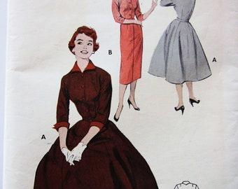 50s Butterick 7038 Basic Slim Wiggle or Full Skirt Dress Below Knee Length - Size 16 Bust 34