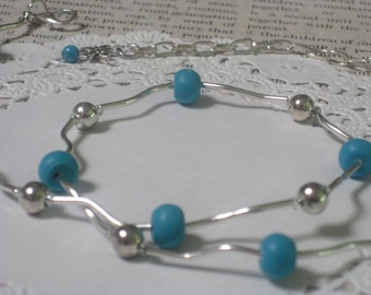 Turquoise Modern Elegance Necklace - Turquoise Beads, Silver Balls And Silver Swirly Tubes