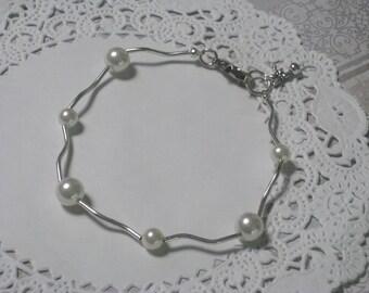Pearl Modern Elegance Bracelet - White Swarovski Pearls And Silver Swirly Tube Beads