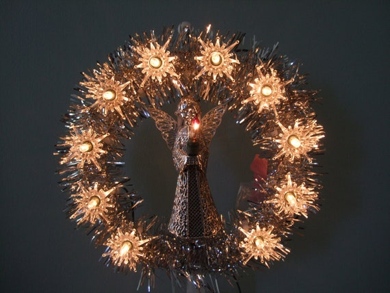 11 Lite Tree Top Silver Angel in Tinsel Wreath