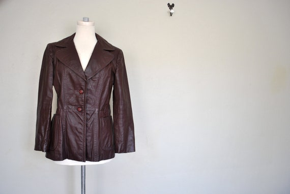 Oxblood Leather Jacket - Ladies Dorby Casuals New York Maroon Leather Jacket - Vintage Leather Coat