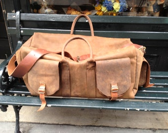 Baruch overnight bag, handmade leather bag, mens weekend bag, multi pocket duffle, handmade leather overnight and travel bags by Aixa Sobin