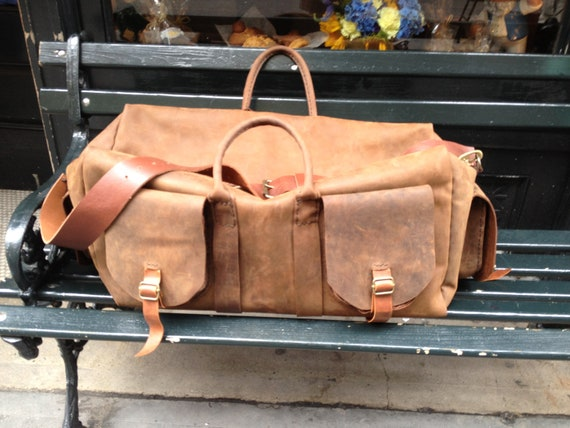 Baruch Overnight Handmade Leather Mens Weekend Multi Pocket Duffle Overnight Travel Carry On Bags by Aixa Sobin