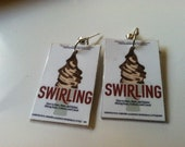 Swirling Ice Cream Photo Earring - Free Shipping - Inspired by book Swirling