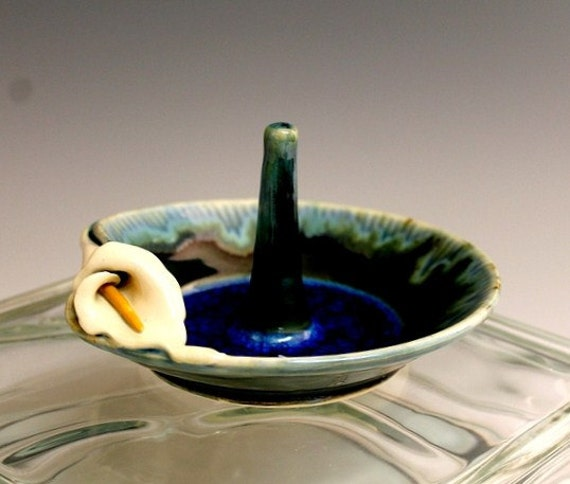 Calla Lily Handmade Pottery Bowl Jewelry or Wedding Ring Holder