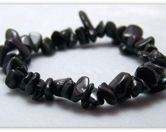 Stretch Bracelet - Gemstone Bracelet - Black Obsidian Bracelet, Obsidian Chips, Bead Bracelet, Gemstone Jewelry