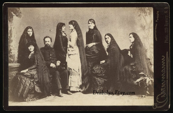 Rare Cabinet Card / Hair Growing Advertising Photo / Seven Sisters with Long Hair