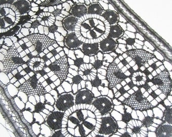 Vintage Black Lace, Wide Lace, Antique Sewing Supplies, Victorian Trim