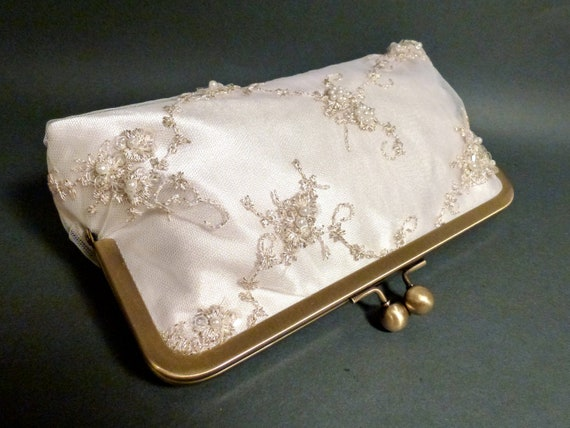 Bridal Clutch Delicate Beaded Lace Overlay on Ivory