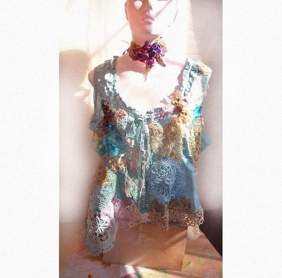 SALE Lovely Unique Turquise  Cotton Jacket/Vest /Corset/Bolero Laces COTE d'AZUR Hippi Victorian Antique Boho  Wilde Summer very Feminine