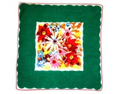 RETRO HANKIE, Mid-Century, Colorful Mixed Abstract Bouquet, Deep Border in Bright Green, Excellent Condition, Hand Rolled Hem