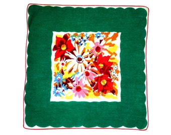 RETRO HANKIE, Mid-Century, Colorful Mixed Abstract Bouquet, Deep Border in Green, Garnet or Navy, Excellent Condition, Hand Rolled Hem