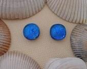 Blue Dichroic Post Earrings, Fused Dichroic Glass Post Earrings, Dichroic Glass Jewelry - Azure Blue