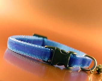 Blue Velvet Breakaway Cat Collar with Crown Charm
