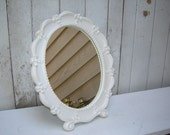 Ornate Oval Framed Mirror - painted Creamy White