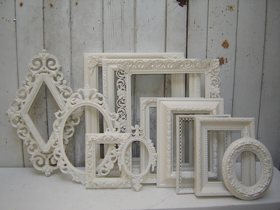 ornate picture frames - 12 romantic  french country victorian cottage white upcycled frame collection