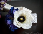 Anemone Wedding Corsage - Ivory Anemone and Purple Hydrangea Silk Corsage