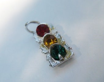 3D Sterling Silver Vintage Traffic Lights Charm, vintage charm in excellent condition