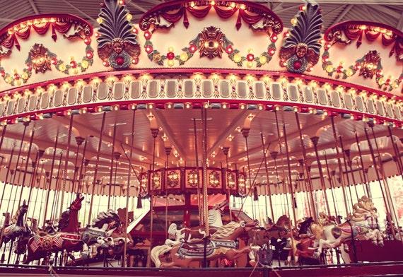 The Carousel One Photo Print, Nursery Decor, Carnival Prints, Horses, Carnival Art, Interior Design