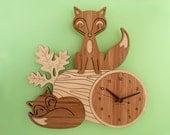 Fox Clock: Wood Bamboo Woodland Animal Wall Kids Clock