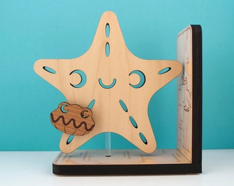 Wood Starfish Bookend: Kids Wooden Ocean Star Fish Book End