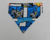 Dog/Cat/Ferret-Reversible 2 in 1 Over the Collar Super Hero Comic Book BATMAN Bandana. Custom made just for YOU and your pet